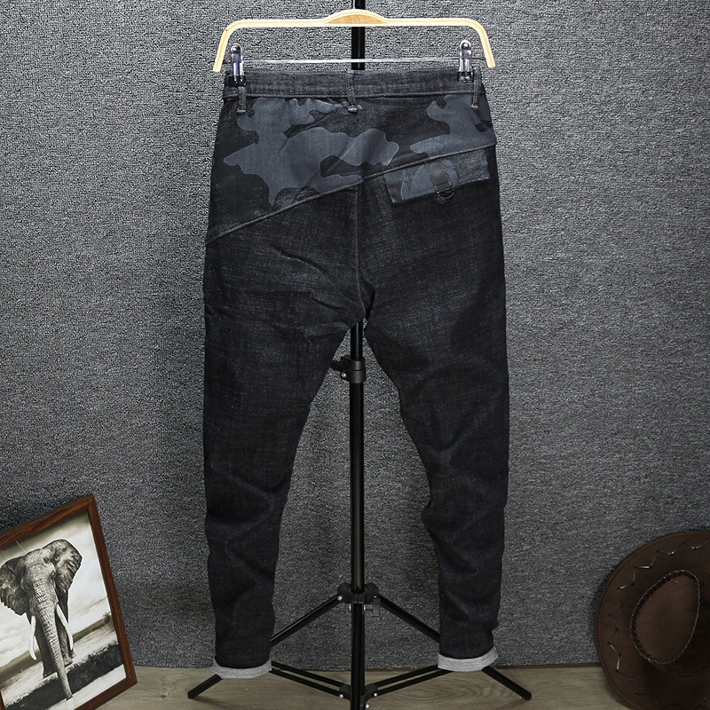 Camouflage stitching jeans mens print neckline hip hop tapered autumn top wide bottom narrow tie pants