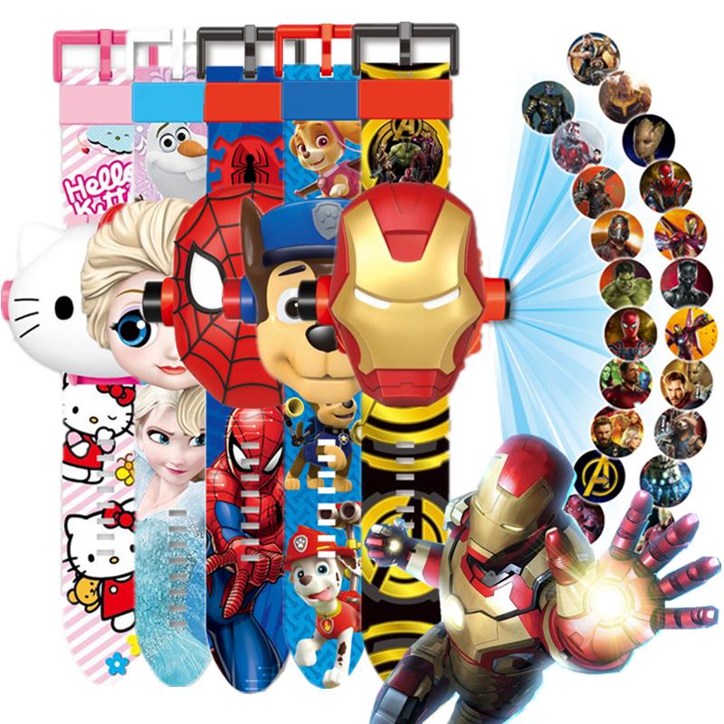 ウルトラマンの腕時計の投影おもちゃ子供の男の子漫画ワンワンの女の子のきらきら光る電子時計