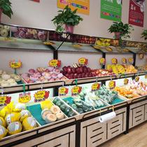 超市水果架子双面蔬菜水果货架展示架组合三层水果货架业神制造