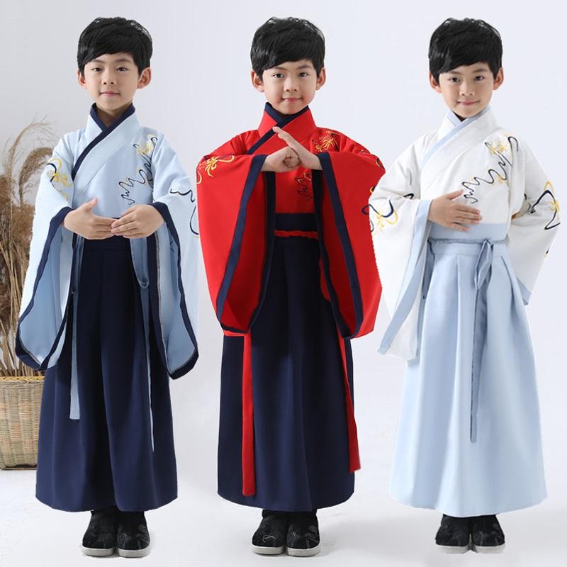 儿童汉服小男孩古装中国风男童学生朗诵国学服表演出服装春秋季装