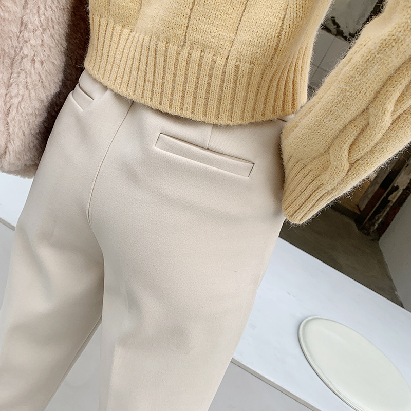 Womens suit pants 2020 new straight tube loose and thin, versatile high waist nine point white casual woolen Harem Pants