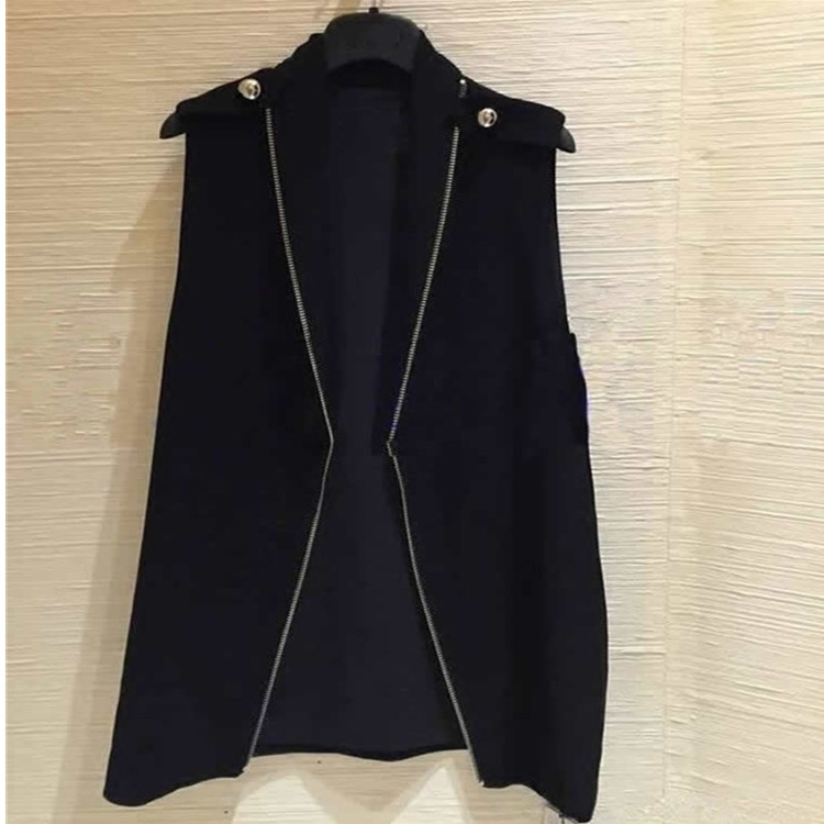 San amastaxia fall / winter 2020 new versatile suit waistcoat zipper design medium length sleeveless vest for women