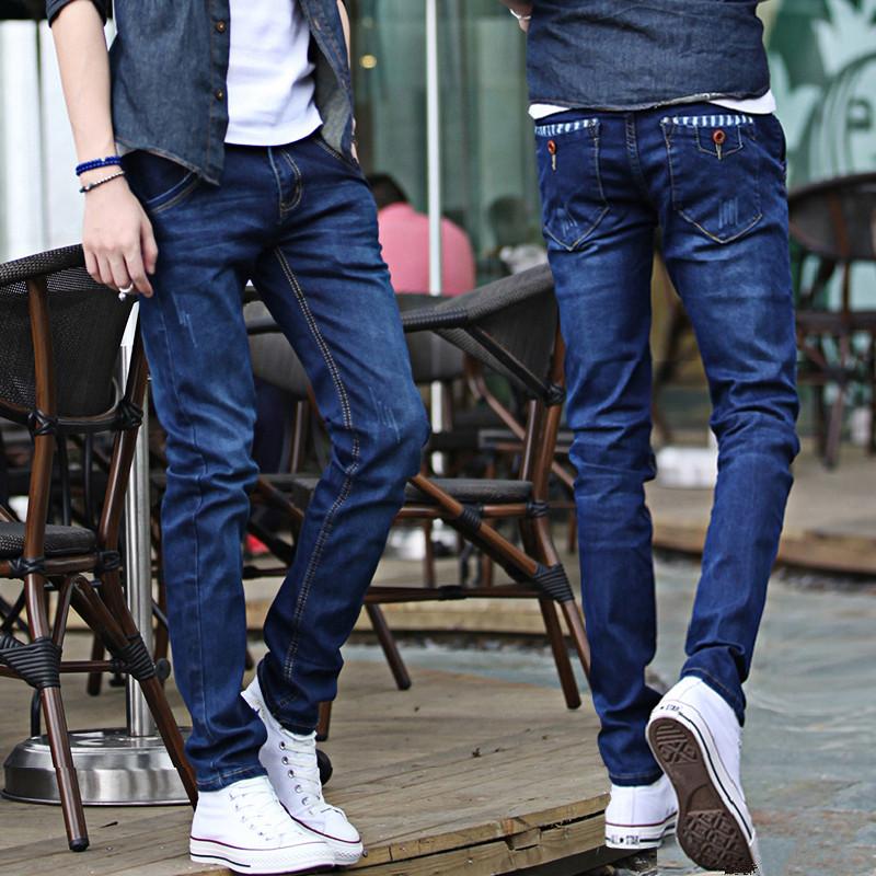夏季薄款男士牛仔裤修身休闲韩版弹力小脚裤男百搭潮流帅气长裤子