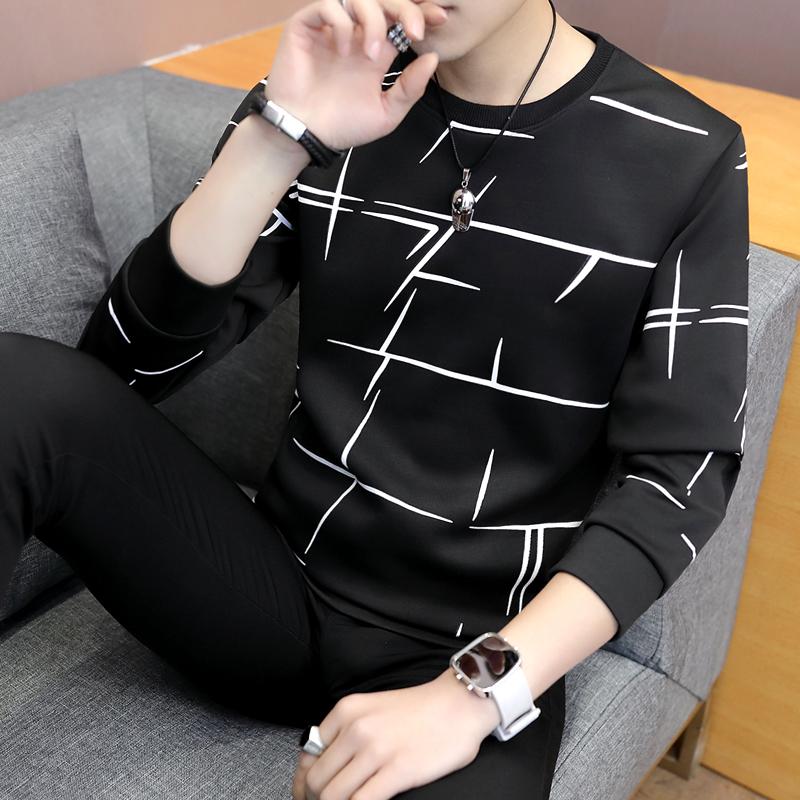 长袖卫衣男 2018春秋季新款男士圆领青年韩版潮流 上衣长袖男t恤
