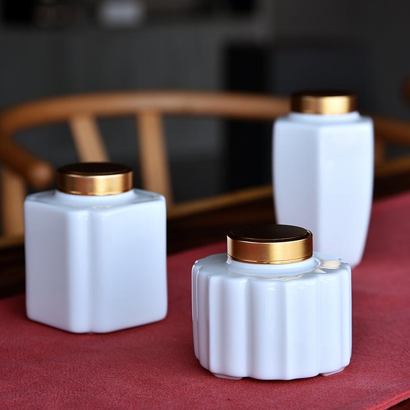 弘博臻品德化白瓷茶叶罐陶瓷储物罐密封玉瓷罐存茶罐茶具茶叶盒