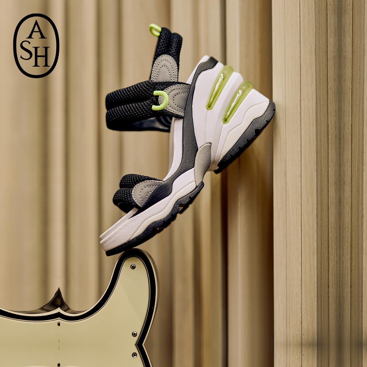 ASH女鞋2020夏季新款COSMOS系列网面撞色魔术贴双气垫增高凉鞋女