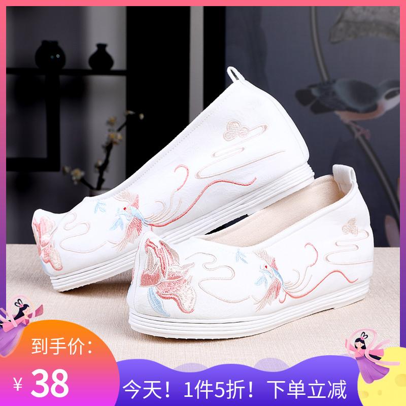5折绣花鞋 汉服配鞋子女古风 千层底布鞋内增高翘头弓鞋古装鞋