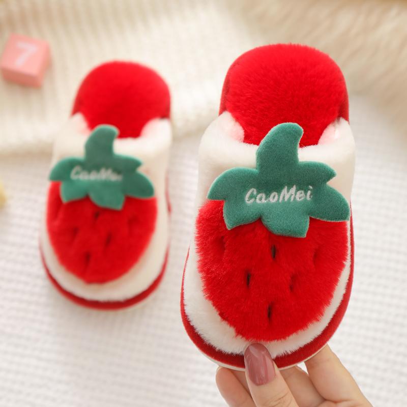 冬季儿童棉拖鞋女童毛绒卡通草莓地板拖男童1-3-6岁公主宝宝拖鞋