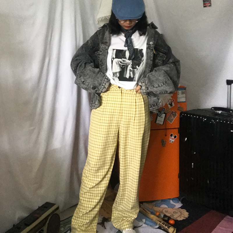 Plaid wide leg pants for women in early spring 2020 new style casual pants in spring and summer