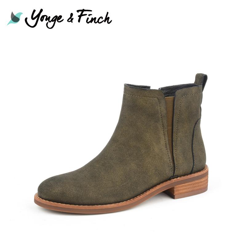 Yonge Finch 扬芬缇复古短筒女靴冬季欧美平底时尚搭配短靴10102
