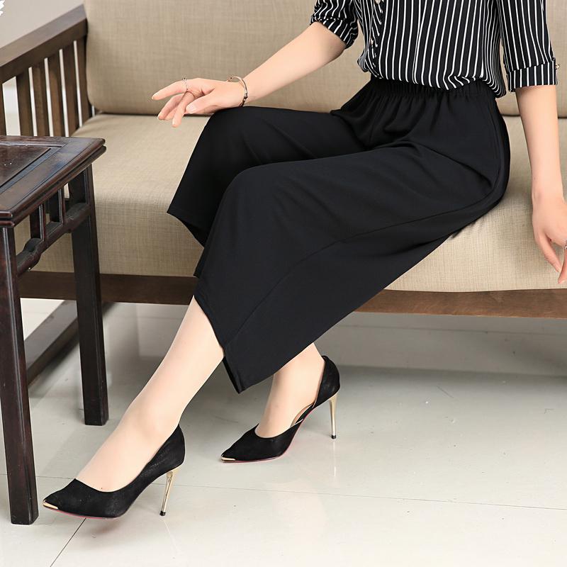 妈妈夏天裤子中老年女装高腰雪纺阔腿裤时尚中年宽松潮七分裤薄款