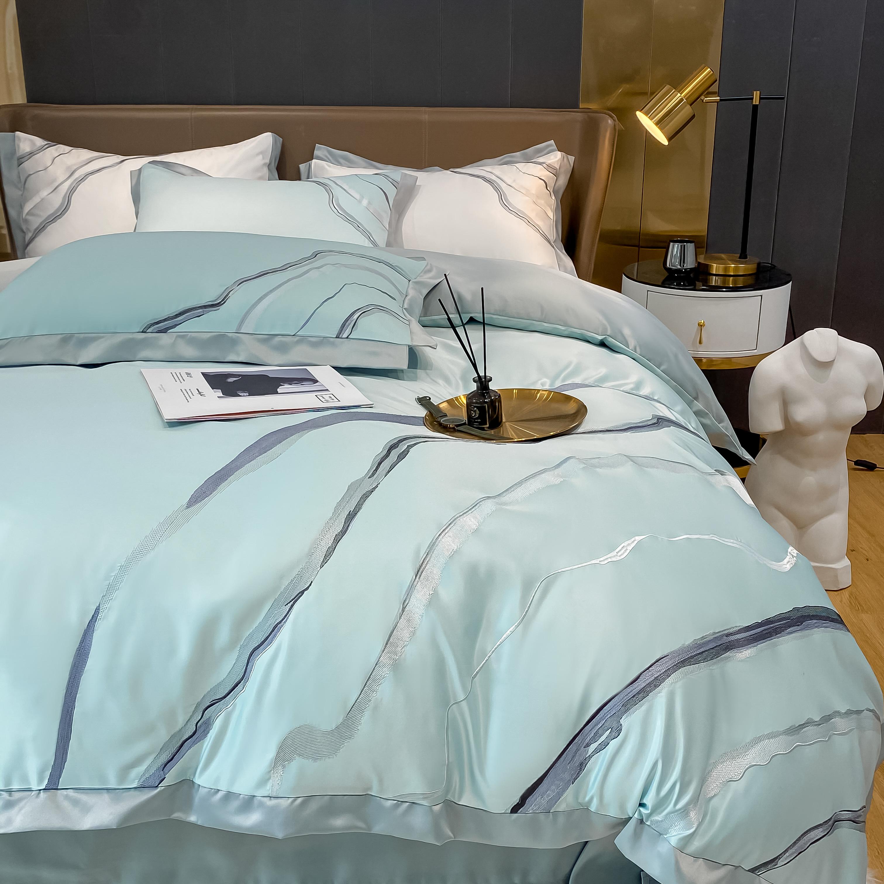 夏季轻奢丝滑裸睡冰丝四件套欧式双面真丝刺绣被套床单笠高端床品
