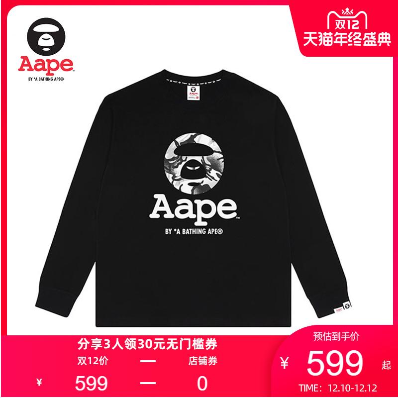 Aape男装秋冬迷彩猿颜字母印花休闲长袖T恤0650XXF
