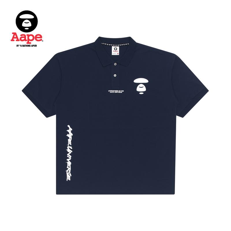 Aape男装春夏猿颜字母印花迷彩撞色拼接短袖POLO衫0501XXE
