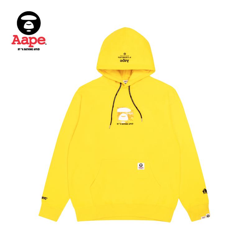 Aape男装秋冬方形猿颜多色迷彩图案字母刺绣连帽加绒卫衣3591XXD