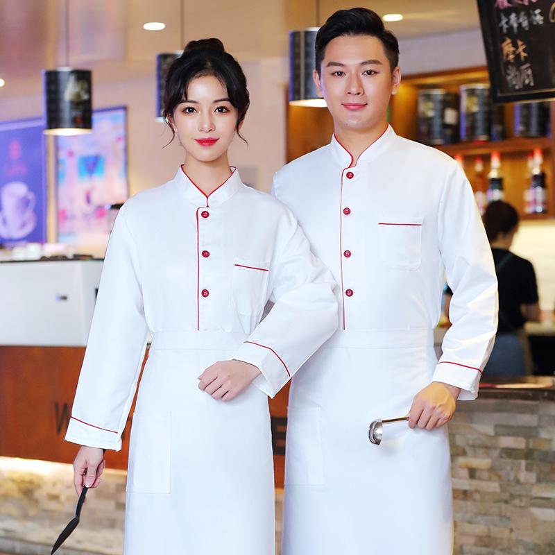 厨房餐厅烹饪厨师工作服秋冬长袖咖啡师制服牛扒烧烤师制服蛋糕服