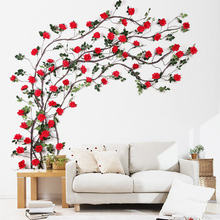 Simulated Rose Plastic Silk Flower Vine Living Room Indoor Water Pipeline Air Conditioning Decoration Fake Flower Vine Wall Hanging