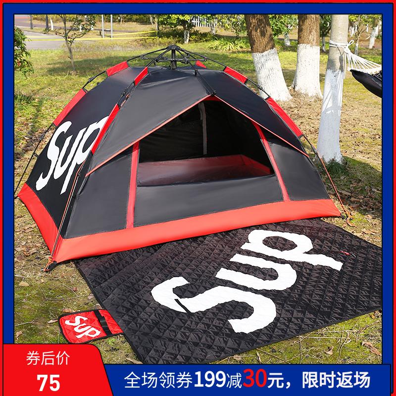 潮牌户外野营帐篷加厚3-4人全自动防暴雨单双2人野外露营家用装备