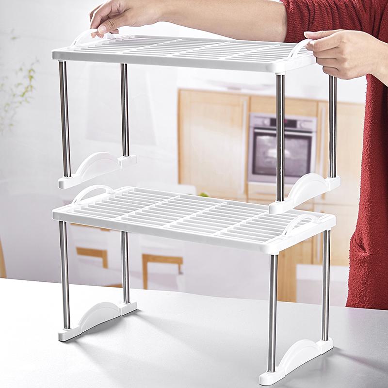 桌面置物架厨房下水槽储物塑料办公冰柜收纳分隔板多层整理小架子