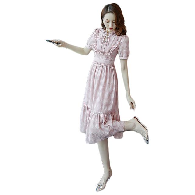 宫廷温柔风连衣裙女夏季2021新款法式修身显瘦气质荷叶边雪纺裙子