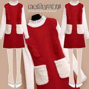 新年衣服连衣裙秋冬本命年红色女装时尚过年喜庆毛呢背心裙两件套