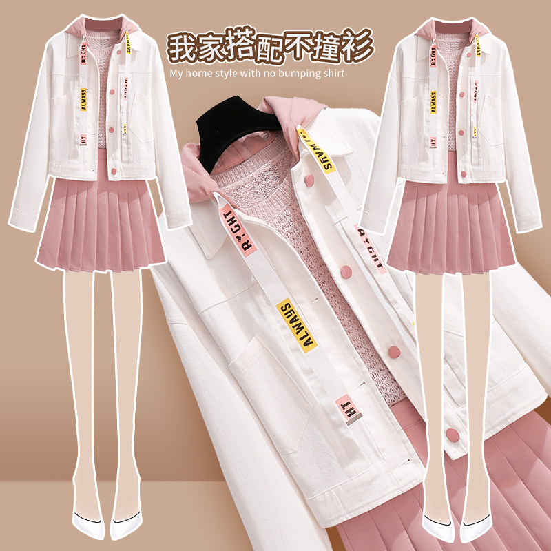 百褶裙子两件套装女初秋季洋气可盐可甜轻熟炸街早秋赫本风三件套图片