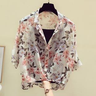 雪纺衫两件套女夏短袖收腰遮肚子上衣2021新款小个子洋气碎花小衫