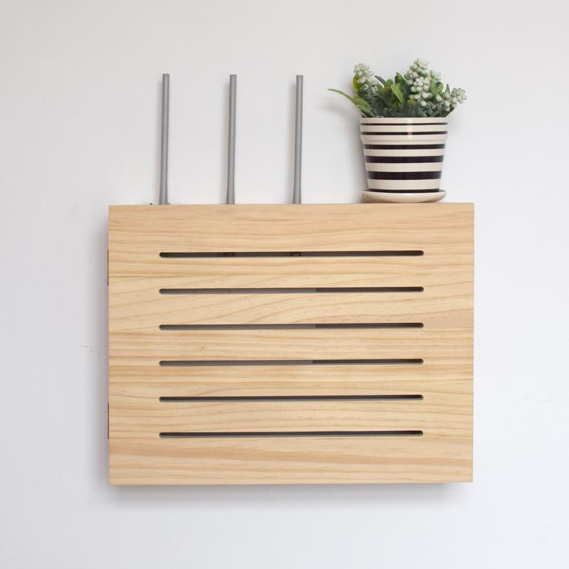 无线路由器电源插座排收纳盒壁挂式wifi光猫遮挡箱大置物架子实木