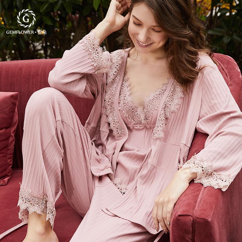 月子服春夏秋纯棉蕾丝四件套薄款哺乳衣产后喂奶哺乳睡衣孕妇睡衣