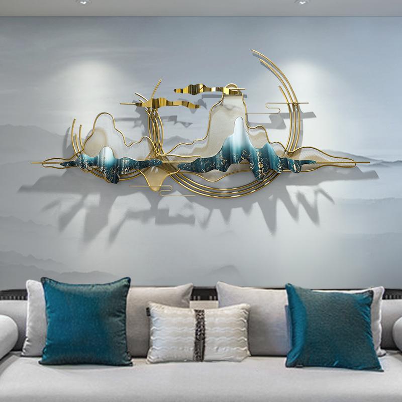新中式山水不銹鋼壁飾客廳背景墻飾壁掛創意網紅民宿墻面裝飾掛件