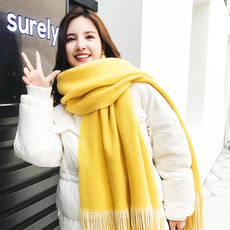 韩版百搭黄色围巾女冬季加厚毛线双面双色长款仿羊绒白色围脖学生