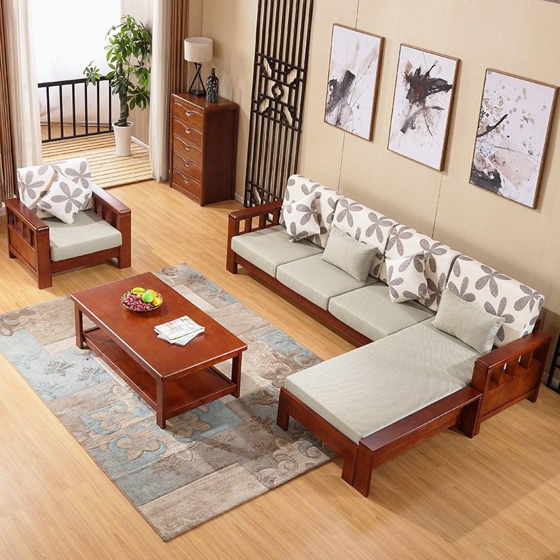 全实木沙发新中式家具客厅布沙发(非品牌)