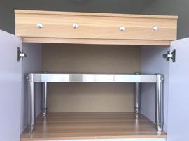 不锈钢架厨房置物架一层微波炉分层架橱柜隔层烤箱架收纳隔断定做图片
