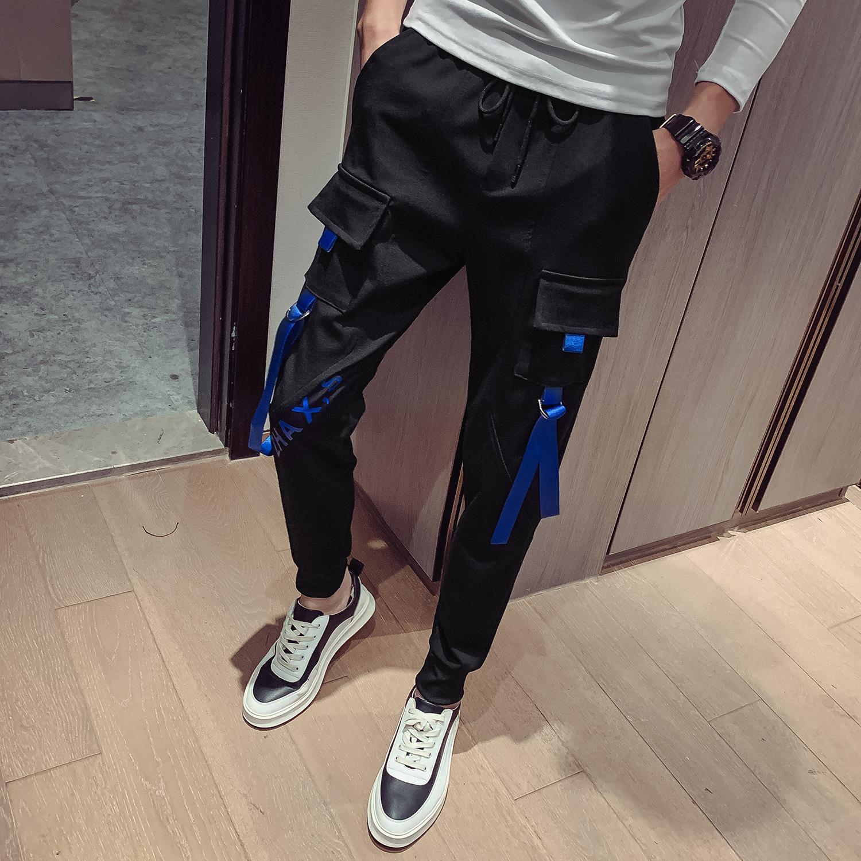 代购精神小伙休闲裤子男韩版潮流2019秋季新品束脚裤男小脚裤时尚