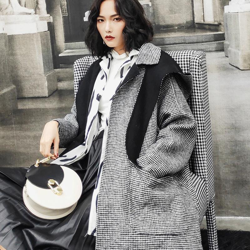代购复古拼色连帽双面尼羊毛呢大衣女宽松经典千鸟格手工羊绒外套