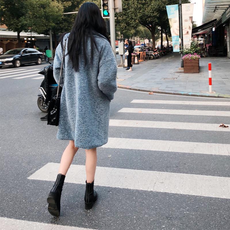 代购2020新款冬季颗粒绒皮毛一体羊羔毛外套女中长棉服港风原宿潮