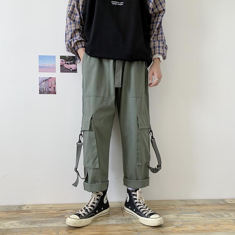 代购新款街头潮牌复古工装裤男潮流百搭宽松九分裤直筒休闲裤时尚