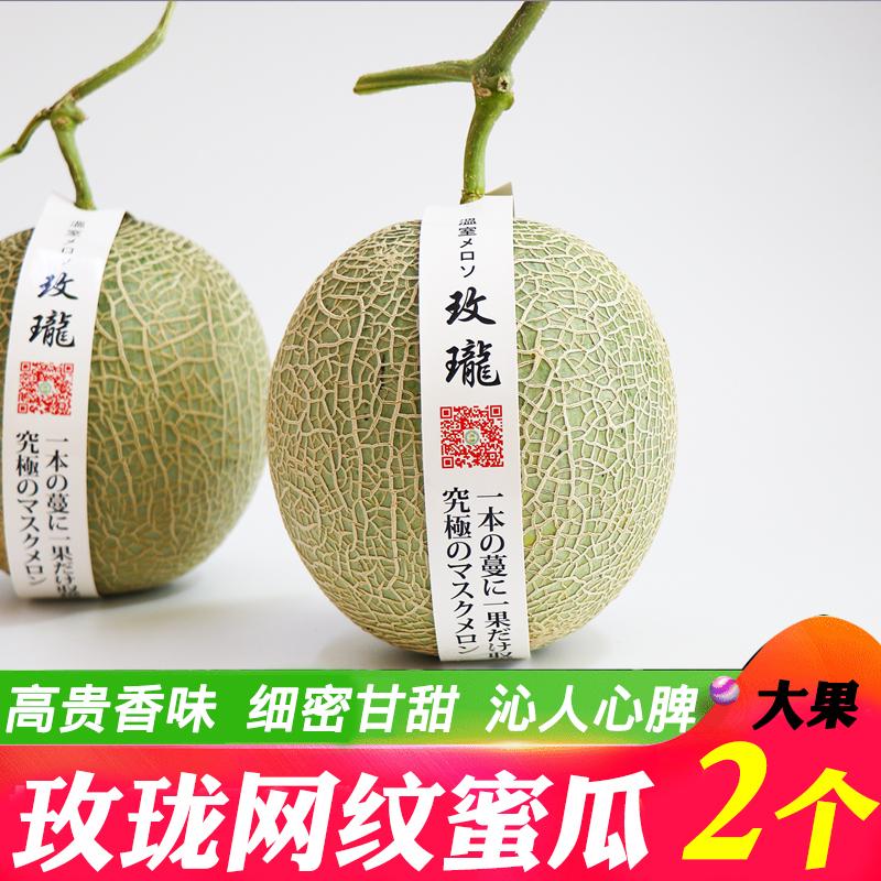 玫珑蜜瓜2个大果 日本引种网纹瓜哈密瓜海南蜜瓜新鲜水果包邮