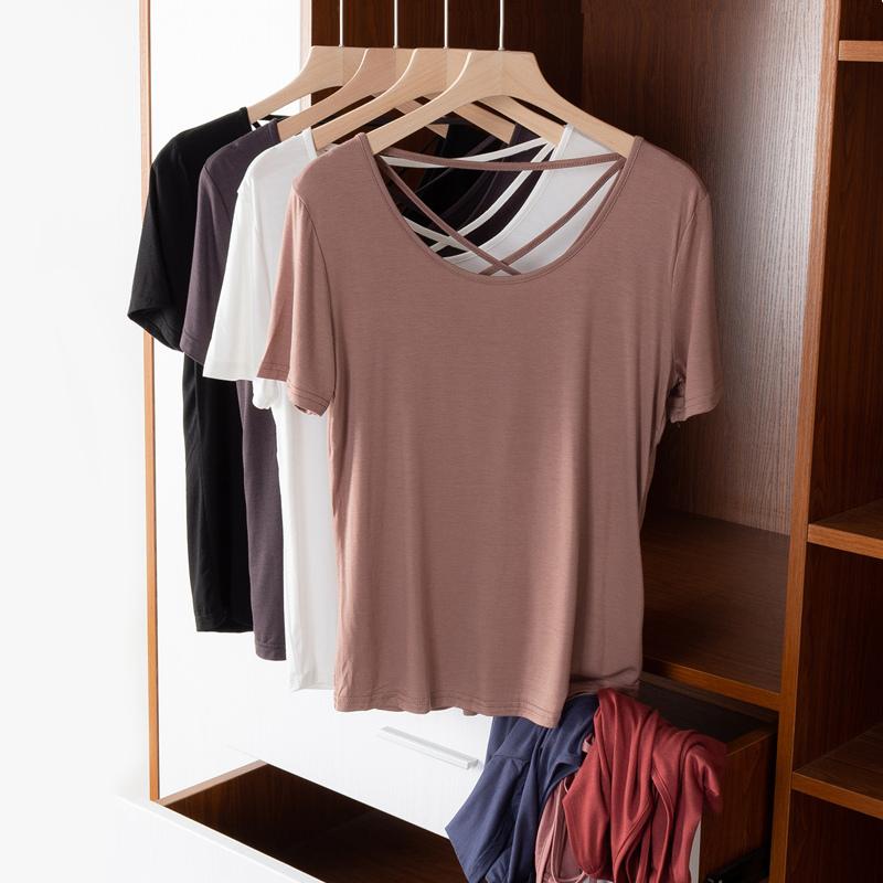 美背T恤女夏薄款宽松短袖莫代尔打底衫后背镂空交叉露背体恤上衣