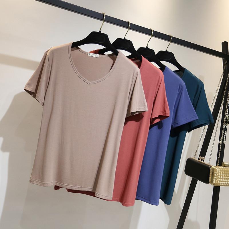 莫代尔短袖T恤女夏季V领修身打底衫体恤韩版百搭宽松显瘦大码上衣