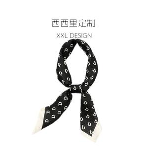 石原里美同款丝巾小方巾女百搭字母黑色领巾 搭西装ins头巾发带