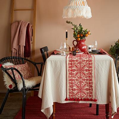 蜡笔派纸窗梦事中式桌旗餐桌旗茶几中国风茶旗禅意长条美式床旗