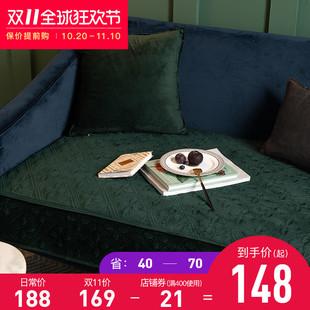 蜡笔派四叶草美式沙发垫绒布多色沙发罩纯色四季北欧简约沙发套垫图片