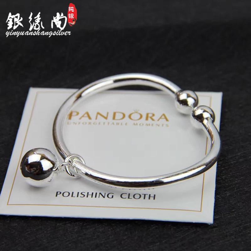 S990 foot silver pearl head bell silver bracelet womens smooth open pure silver bracelet simple fashion for girlfriend