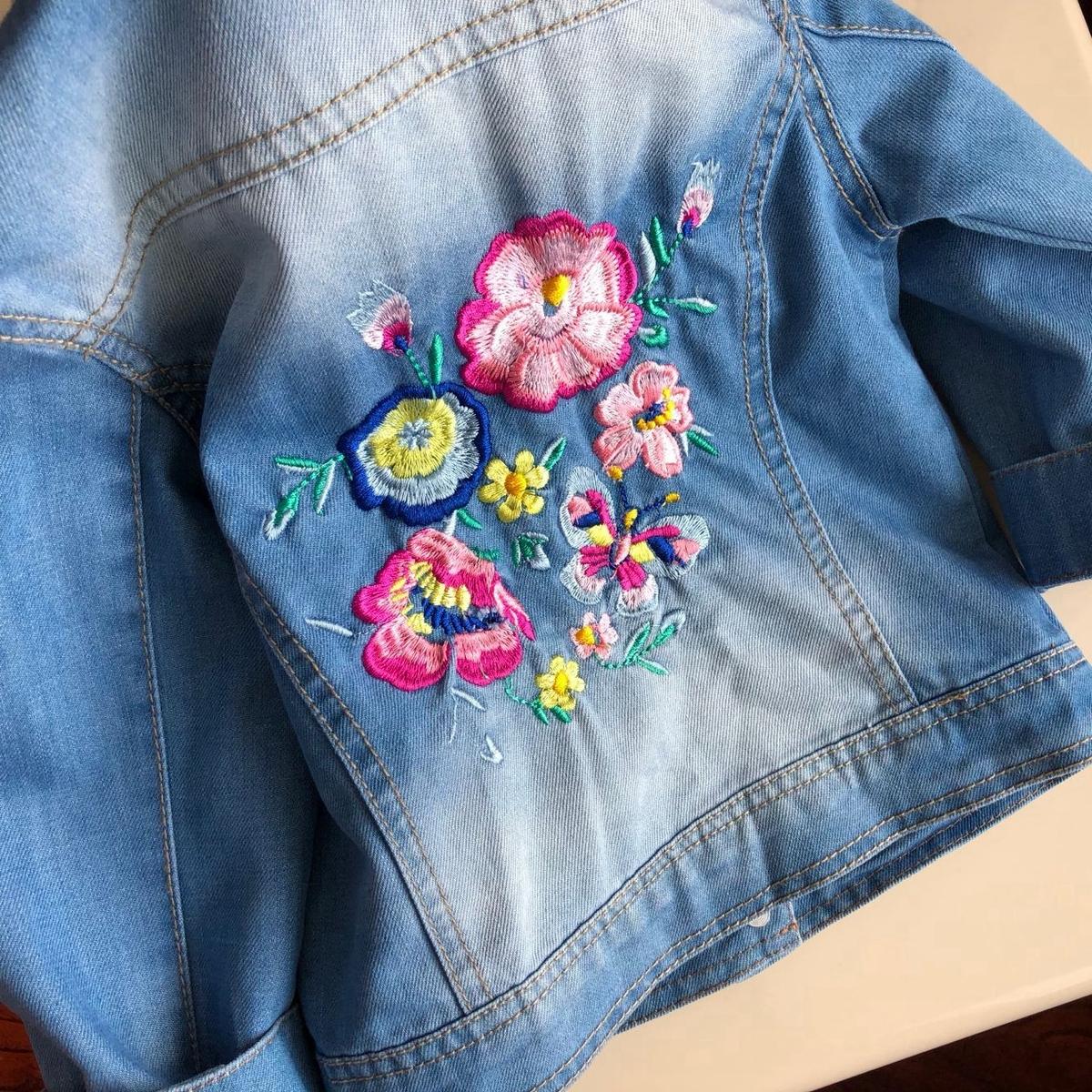 刺绣花朵女童外套秋季新款牛仔上衣宝宝开衫纯棉软牛仔外套