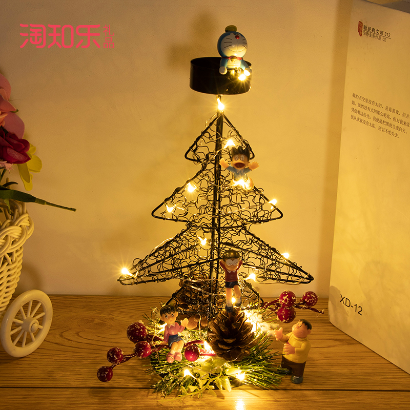 Q-圣诞装饰摆件蜡烛台美少女战士叮当宠物精灵龙猫手办公仔圣诞礼