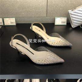 品牌撤柜2019夏新款女鞋 尖头水钻仙女风高跟细跟时尚女凉鞋B2202图片