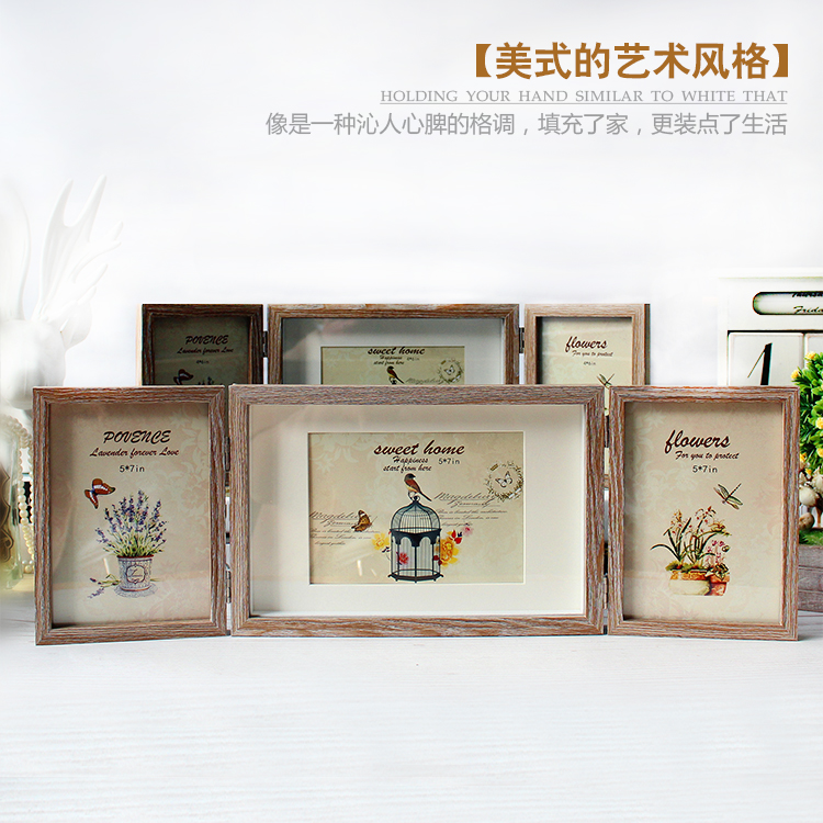 創意組合三折相框復古美式6寸7寸照片相框辦公室咖啡館家居裝飾品