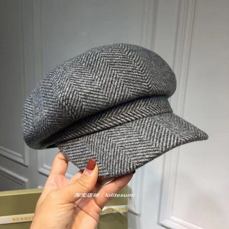 韩国秋冬新款格子报童鸭舌帽画家帽