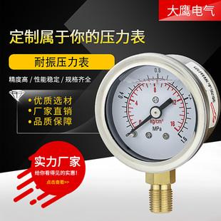 NPT1 耐震压力表YN40不锈钢材质油压气压水压螺纹M10 1分